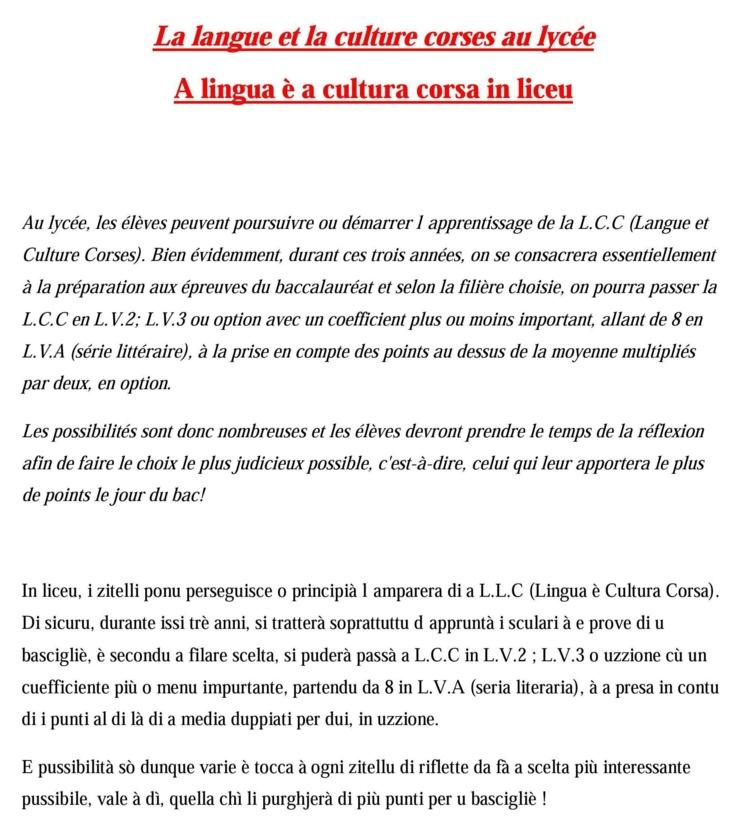 """""""A Lingua è a cultura corsa in liceu"""""""
