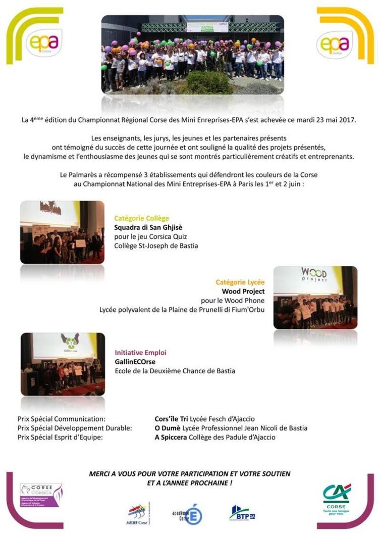 """""""WOOD PROJECT"""" : Champion Régional des Mini-Entreprises EPA (catégorie lycée)"""