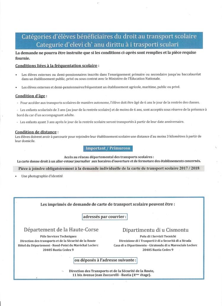 """""""FICHE DE TRANSPORT SCOLAIRE 2017-2018"""" (Lycée)"""