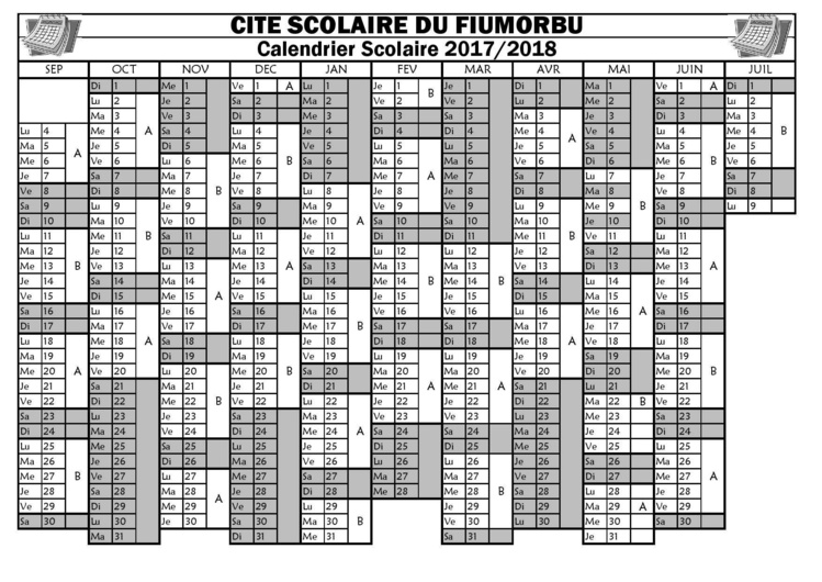 Calendrier Scolaire (2017-2018)