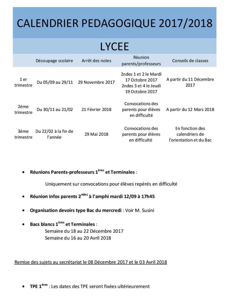 Calendrier Pédagogique 2017-2018 (Lycée)
