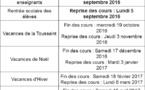 Calendrier scolaire 2016 -2017