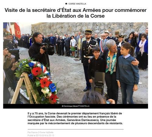 Visite de la secrétaire d'Etat aux Armées pour la commémoration de la Libération de la Corse