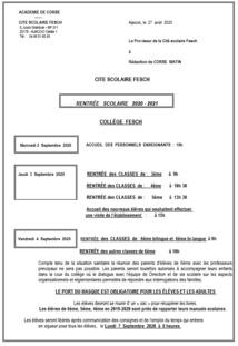 Organisation de la rentrée Cité Scolaire Fesch + Protocole sanitaire