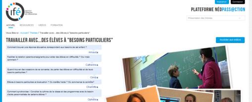 """* Travailler avec...des élèves à """"besoins particuliers"""" : Néopass@ction : INSTITUT FRANÇAIS DE L'ÉDUCATION (ifé)"""