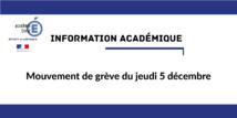 Information académique - Mouvement de grève du 5 décembre 2019