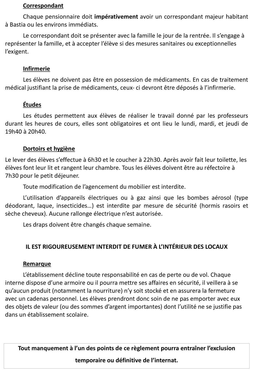 Règlement interieur de linternat
