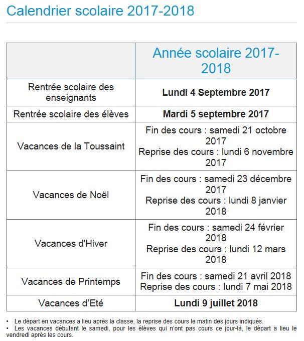 Informations de rentrée et calendrier 2017-2018 - académie de Corse
