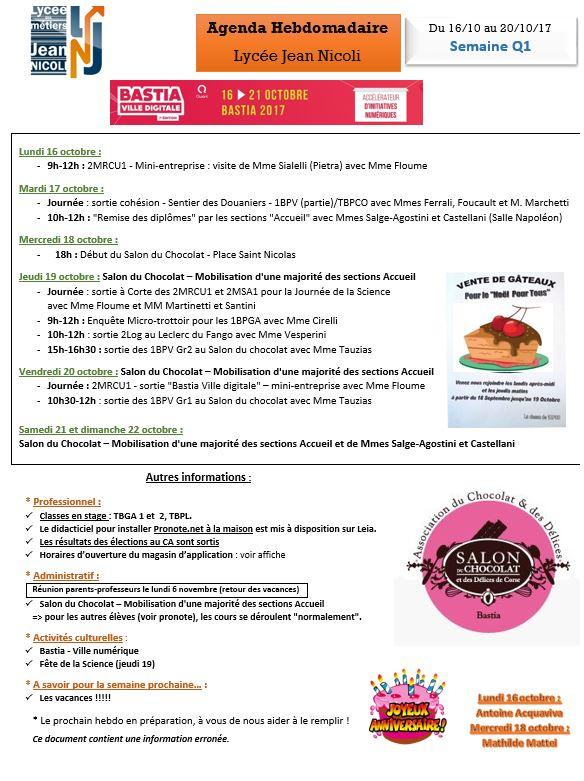 L'hebdo du 16 au 20 octobre