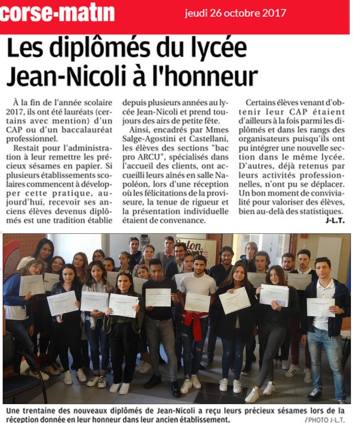 Les diplômés du Lycée Jean Nicoli à l'honneur dans la presse