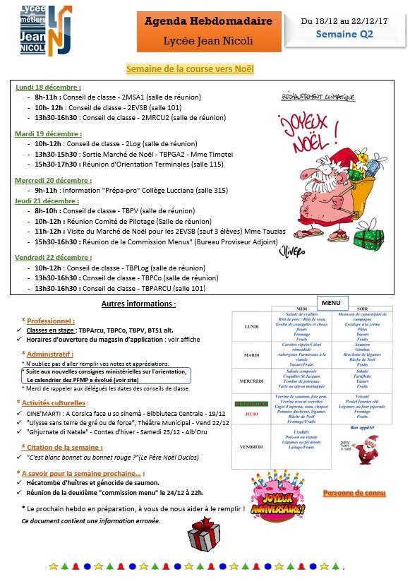 L'Hebdo du 18/12 au 24/12... Et Joyeux Noël !!!