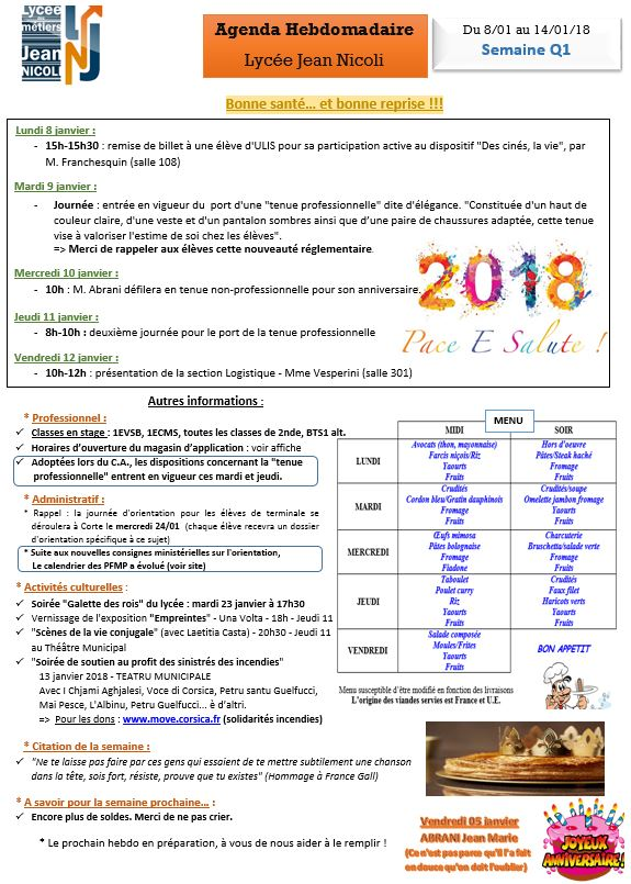 L'Hebdo de bonne année du 8/01 au 13/01/2018
