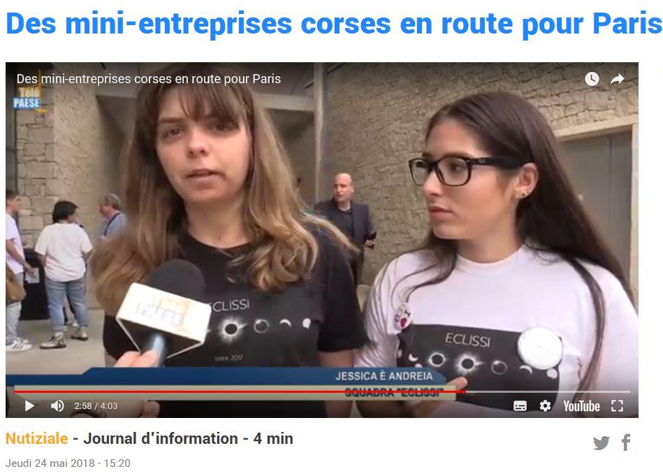 La mini-entreprise Eclissi passe sur Télé Paese pour le concours EPA et obtient le Prix coup de coeur du jury