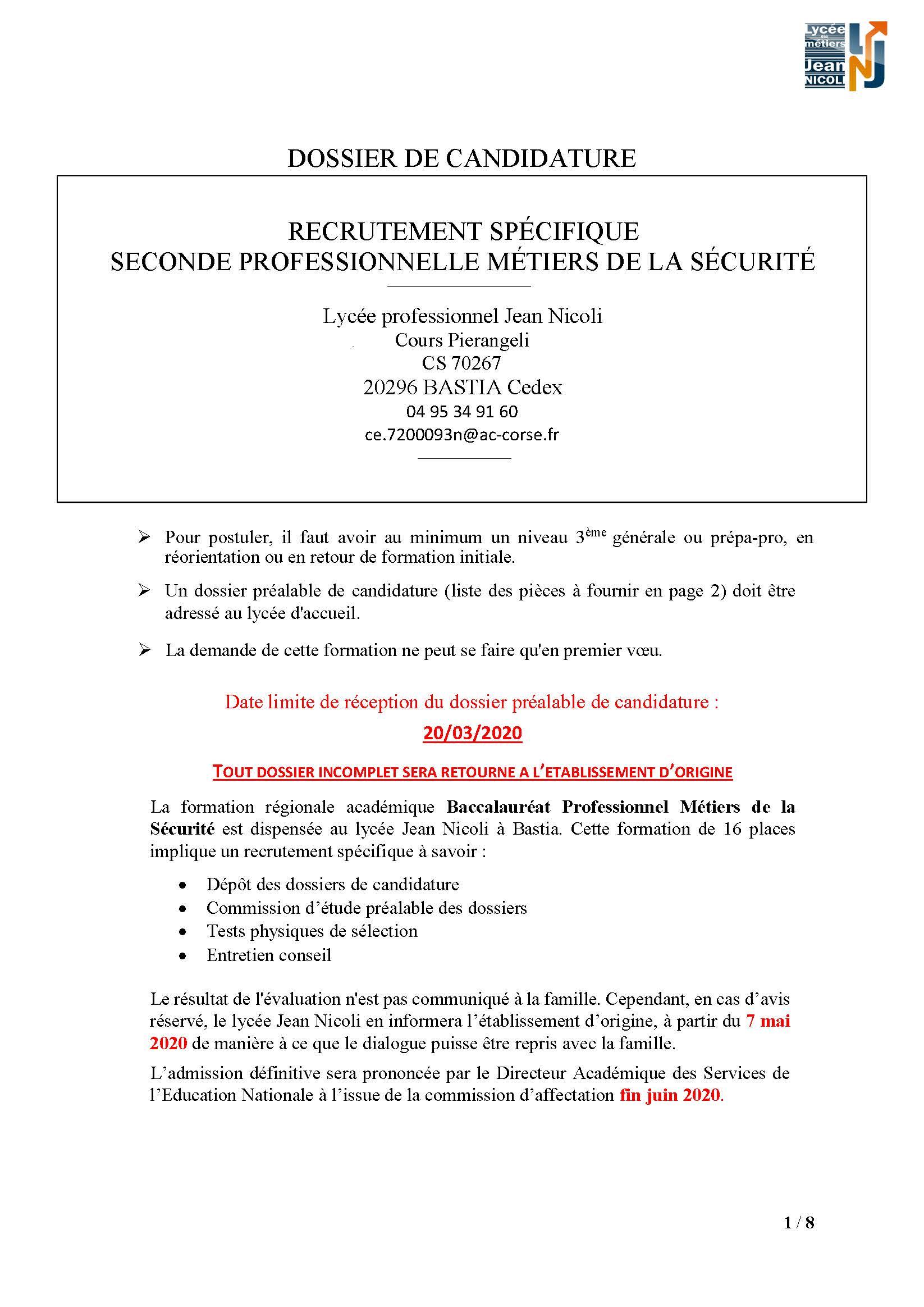 """Recrutement baccalauréat professionnel """"Métiers de la sécurité"""""""