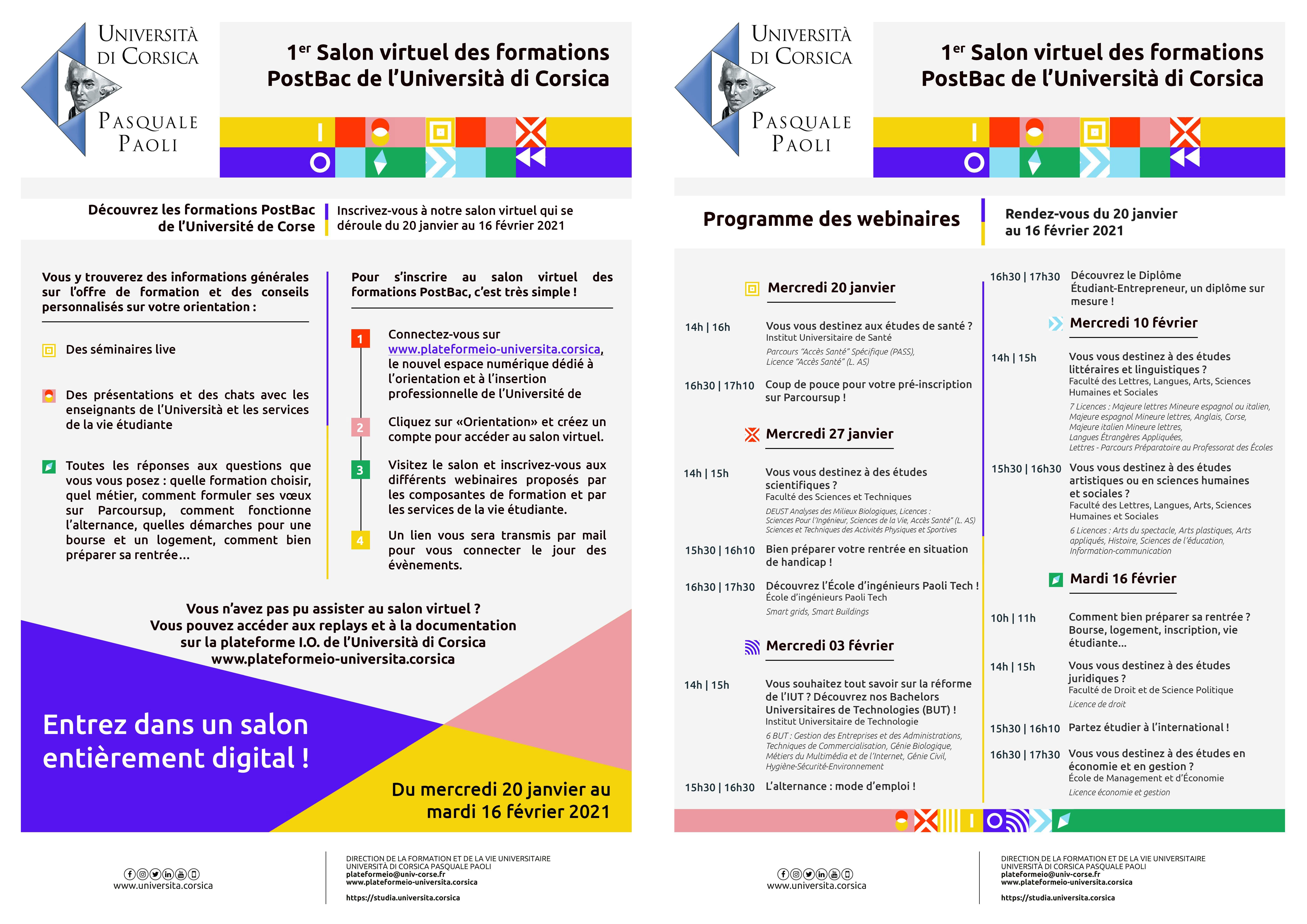 Salon virtuel des formations PostBac de l'Université de Corse