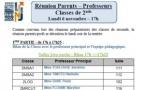 Réunion Parents-professeurs de 2nde le lundi 6 novembre à 17h